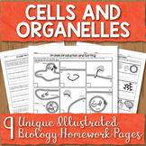 Cells and Organelles Unit Homework Page Bundle