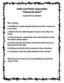 """Cells and Their Organelles- """"Concentration"""" Card Game"""