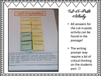 Cells and Their Organelles Science & Literacy Activities