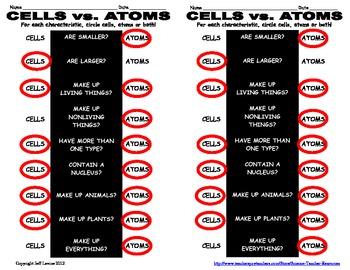 Cells vs. Atoms Worksheet