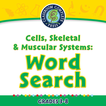 Cells,Skeletal & Muscular Systems: Word Search - NOTEBOOK Gr. 3-8
