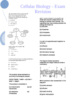 Cellular Biology - Exam or Test Revision Worksheet