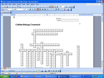 Cell Crossword Puzzle