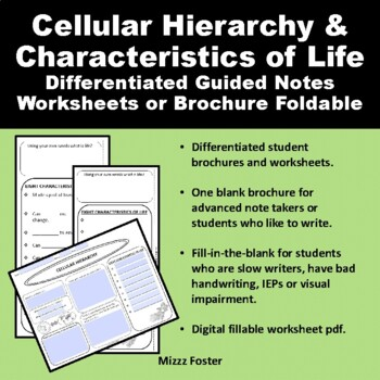 Cellular Hierarchy  and Characteristics of Life Brochure One Page Foldable