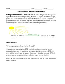 Cellular Respiration Design your Own Lab (STEM) NGSS MS-LS1-6