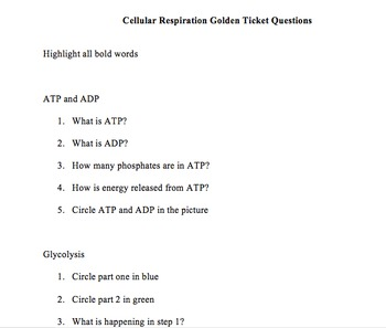 Cellular Respiration Golden Ticket
