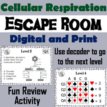 Photosynthesis and Cellular Respiration Activity: Biology Escape Room Science