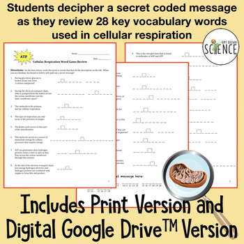 Cellular Respiration Word G... by Amy Brown Science | Teachers Pay ...