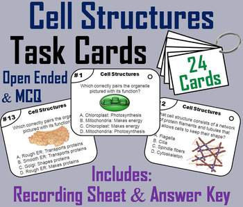 Cell organelle reading teaching resources teachers pay teachers plant and animal cell organelles and function task cards fandeluxe Images