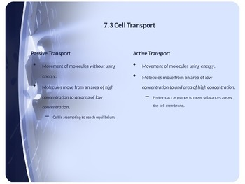 Cellular Structure & Function - Cellular Transport & Homeostasis - PowerPoint