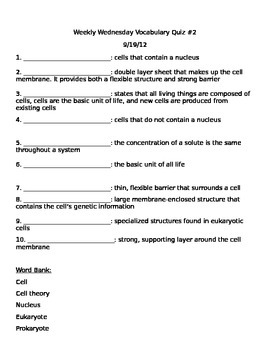 Cellular Vocabulary Terms/Quiz