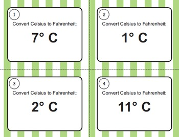 Celsius and Farenheit Task Cards