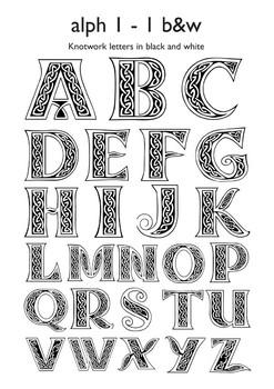 Celtic Alphabet Letters 1-1 Black & White