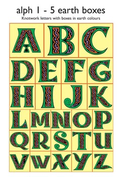 Celtic Alphabet Letters 1-5 Earth Colors in Boxes