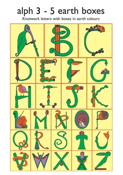Celtic Alphabet 3-5  Earth Colors in Boxes