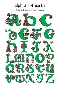 Celtic Alphabet Letters 2-4 Earth Colors