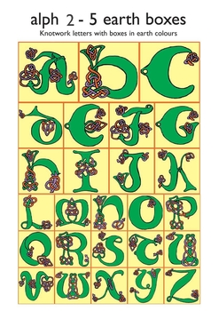 Celtic Alphabet Letters 2-5 Earth Colors in Boxes