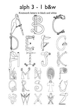 Celtic Alphabet Letters 3-1 Black & White