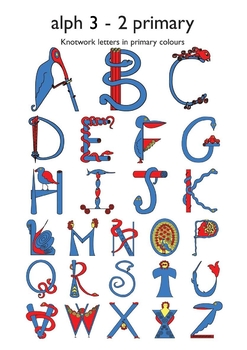 Celtic Alphabet Letters 3-2 Primary Colors