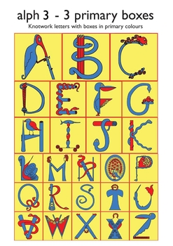 Celtic Alphabet Letters 3-3 Primary Colors in Boxes