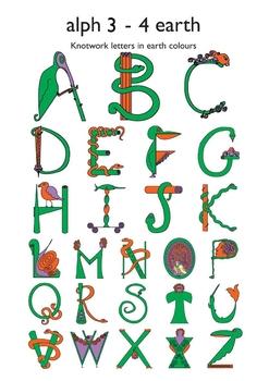 Celtic Alphabet Letters 3-4 Earth Colors