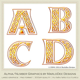 Celtic Irish Golden Alphabet Letter Graphics