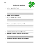 Celtic Music Worksheet
