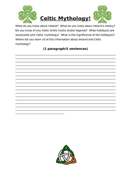 Celtic Mythology Quickwrite (Prior Knowledge Assessment)