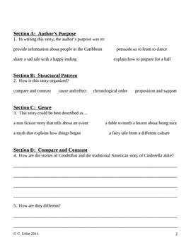 Cendrillon ~ Language Arts Workbook ~ 4th Grade