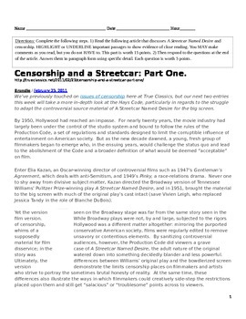 Censorship and a Streetcar (Part 1 and 2) Article with questions