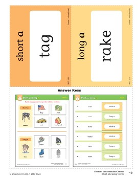 "Center 01: Short and Long ""a"" (Phonics Intervention Centers)"