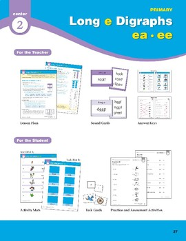 "Center 02: Long ""e"" Digraphs ea/ee (Phonics Intervention Centers)"