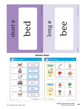 "Center 02: Short and Long ""e"" (Phonics Intervention Centers)"