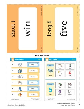 """Center 03: Short and Long """"i"""" (Phonics Intervention Centers)"""