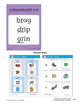 "Center 05: Consonant + ""r"" Blends (Phonics Intervention Centers)"