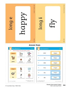 """Center 06: Vowel Sounds of """"y"""" (Phonics Intervention Centers)"""