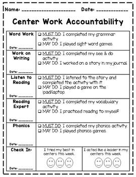 Center Accountability  (EDITABLE)