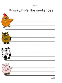 Center Activity: Unscramble Sentences with Sight Words SF 2.2