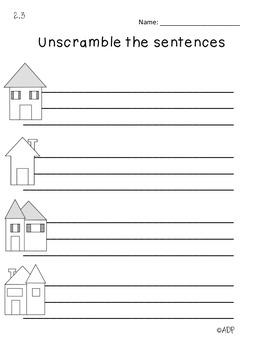 Center Activity: Unscramble Sentences with Sight Words SF 2.3