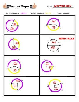 Center Angle & Arc Length (circles) Partner Paper