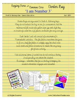 Center Bag - Math & Literacy - I am Number 3 - Common Core - Emergent Reader