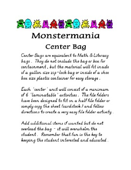 Center Bag Printables - Math and Literacy Combined - Monst