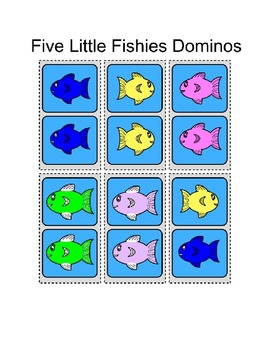 Center Bag Printables - Math and Literacy - Five Little Fishies - Ordinal / Size
