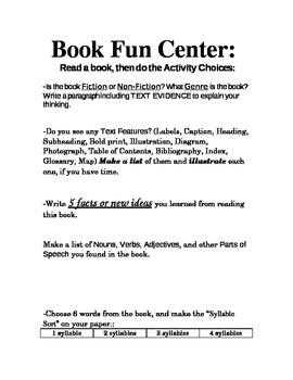 """Center """"Book Fun"""" Ideas"""