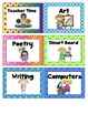 Primary Literacy Center Management Cards with fun border