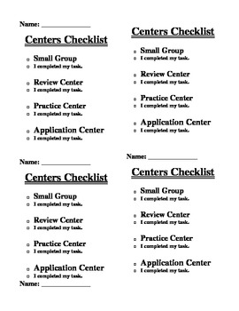 Center Checklists for Core