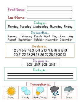 Center Daily Sheets - Differentiated 2016-2019 *FREE*