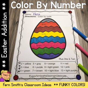 Color By Numbers Funky Easter Eggs Addition