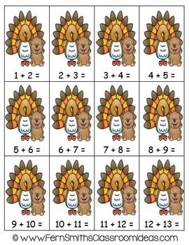 Addition Doubles Plus One Fall Math Center