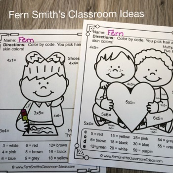 Color By Number St Valentine's Day Math Multiplication and Division Bundle